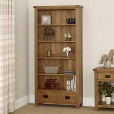 Rustic Oak Large Wide Bookcase - With Drawer - Adjustable - BRAND NEW - RS26