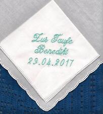 Taschentuch  24 cm, Deine Stickerei Datum Taufe,