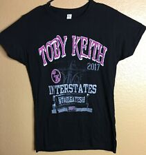 Toby Keith Music Concert T Shirt Xl Interstates & Tailgates Pink on Black 2017