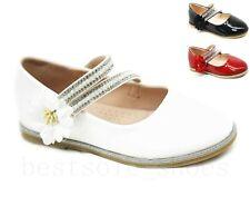 Niños Niñas plana Floral de Fiesta Boda Brillante Patente Escuela Española zapatos talla 8-2