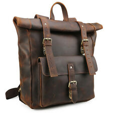 "Men's Leather Backpack Vintage 17"" Laptop Bookbag College Travel Hiking Satchel"