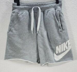 Men's Nike Alumni Grey Cotton Shorts Tight Waist Logo Sz M