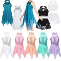 Girls Ballet Latin Lyrical Dance Dress Kids Sequins Halter Ballroom Show Costume