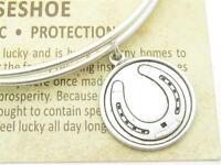 Wind and Fire Horseshoe Silver Charm Wire Bangle Stackable Bangle Bracelet Gift