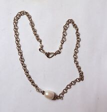 Sterling 925 Triple Real Pearl Necklace Textured Link Large 10x12 Central Pearl