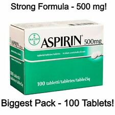 STRONG FORMULA Biggest Pack - Asprin 500 mg - Genuine Bayer Product 100 Tablets
