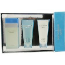 D & G Light Blue EDT Spray 3.3 oz & Body Cream 3.3 oz & Shower Gel 3.3 oz Travel