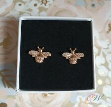Rose Gold Bee Earrings Genuine 925 Sterling Silver. Gift Boxed.