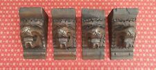 SET OF 4 ANTIQUE FRENCH HAND CARVED OAK LIONS HEAD CORBELS / BRACKETS - c1900