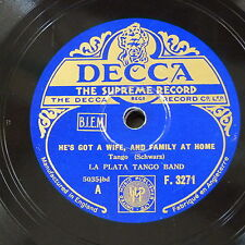 78rpm LA PLATA TANGO BAND he`s got a wife and a family at home / will you dance
