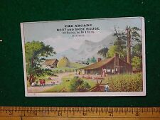 1870s-80s The Arcade Boot & Shoe House Village Mountain Victorian Trade Card F37