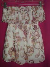 Juniors Paisley Ivory Halter Floral Ruffled Sleeveless Top Shirt Candies Women S
