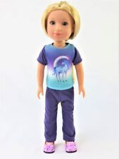 "Purple Unicorn Pant Set Fits Wellie Wisher 14.5"" American Girl Clothes"