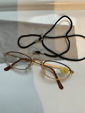LESEBRILLE ,+1,00 Dptr. Gold-Oberrand Braun , Putztuch ,brillenband
