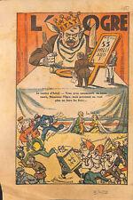 Etat ogre maître Hôtel fonctionnaires financiers dessin humour ILLUSTRATION 1932