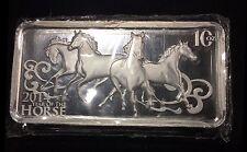 2014  10 oz  Year of the Horse Lunar Silver Bar .999