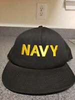US Navy Military Hat USA Armed Forces OSFA Black Vintage Snapback US Made
