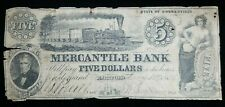 1856 $5 The Mercantile Bank of Connecticut Obsolete Note