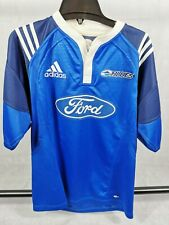Mens Rugby Shirt Jersey Blues Adidas Size L