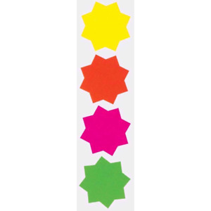 60 x neon Fluorescent Stars Flash Price Display Tag Fluorescent Labels Shop 60MM