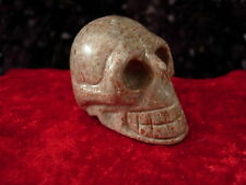 Crystal skull Chinese grey bloodspot stone