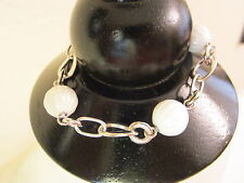 Fossil Sterling Silver Chain Bracelet with White Ceramic Bead Accents $157-NWT