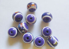 10 Round  Acrylic/Resin Beads - 12mm x 10mm - Purple