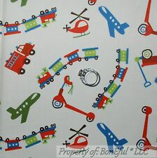BonEful Fabric FQ Cotton Quilt Baby Boy Fire Truck Airplane Wagon Train Scooter