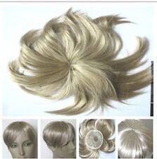 medium blonde clip in on fringe hide bald grey hairpiece extension toupee