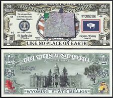 WYOMING STATE MILLION DOLLAR w MAP, SEAL, FLAG, CAPITOL - Lot of 10 BILLS