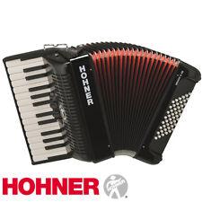 Hohner Bravo II 48 Chromatic Piano Accordion - Jet Black with Gig Bag and Straps