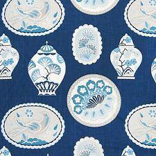 Braemore IMPERIAL TREASURE INDIGO Chinoiserie Plates Platters Drapery Fabric