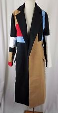 Fleece Patchwork Loud Technicolor Long Maxi Open Front Wrap Swing Coat Womens S