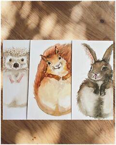 Woodland Animal Print Nursery Decor Baby Footprint Watercolour 💚SET OF 3💚