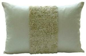 Textured Ribbon 12x14 inch Art Silk Ivory Lumbar Pillow Cover-Vintage Ivory Love
