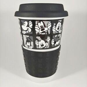DISNEY Mickey Mouse & Goofy Tumbler -Black & White 12oz Ceramic Coffee Mug w Lid