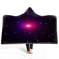 Novelty Gift Nebula Stars Adult Kids Sherpa Fleece Hooded Blanket Cloak Throw