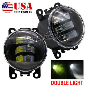 Pair LED Front Clear Lens Bumper Fog Light Lamps Assembly for Ford Focus Mustang