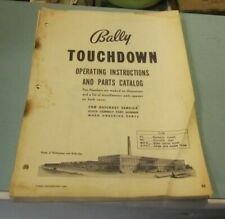 Vintage 1960's Bally Touchdown Pinball Machine Instructions and Parts Catalog