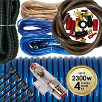 Audiotek 4 Gauge Amp Kit Amplifier Install Wiring Complete 4 Ga Wire 2300W Blue