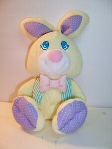 Fisher Price Cozies -Yellow Thermal Bunny /Stripe Vest Purple Ears Plush 1997 VG