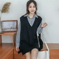 Women V-neck Sweater Vest Knitted Jumper Waistcoat Tank Top Preppy Winter Casual