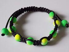 No Metal Adjustable Duo-tone Neon Yellow Green Beads Shamballa Bracelet