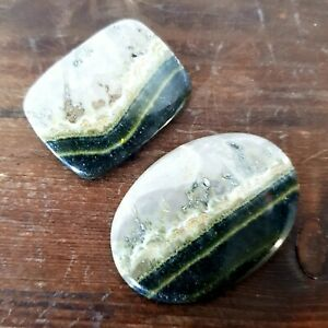 #112 2 x Bumble Bee Jasper Cabochons - Jewellery Making Gemstone wire weaving