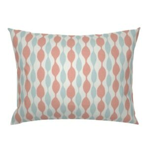 Stripe Beaded Coral Turquoise Pillow Sham by Roostery