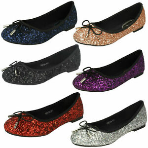 Ladies F8R0184 Slip On Glitter  Ballerina  Party Shoes By Anne Michelle £12.99