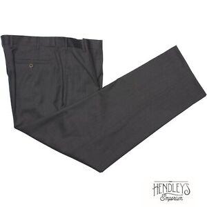 ZANELLA Pants 36x30 Smoke Gray Fine Wool Twill Flat Front TODD Italian Trousers