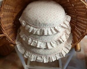 LAURA ASHLEY Round Cushions x3 Feather Pads Shabby Chic Pink Roses VINTAGE 80s