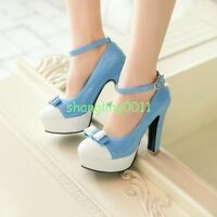 Womens Patent Leather High Heels Ankle Strap Platform Party Pumps Mary Jane Shoe