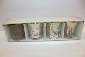 NEW in BOX Pottery Barn Antiqued Mercury Glass Votive Holders~Set of 4